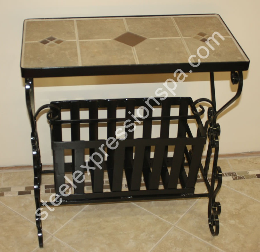 Wrought Iron Coffee Tables. Tile Table . 475.00. Tile Table 450.00.  Magazine Rack With Tile Top 395.00