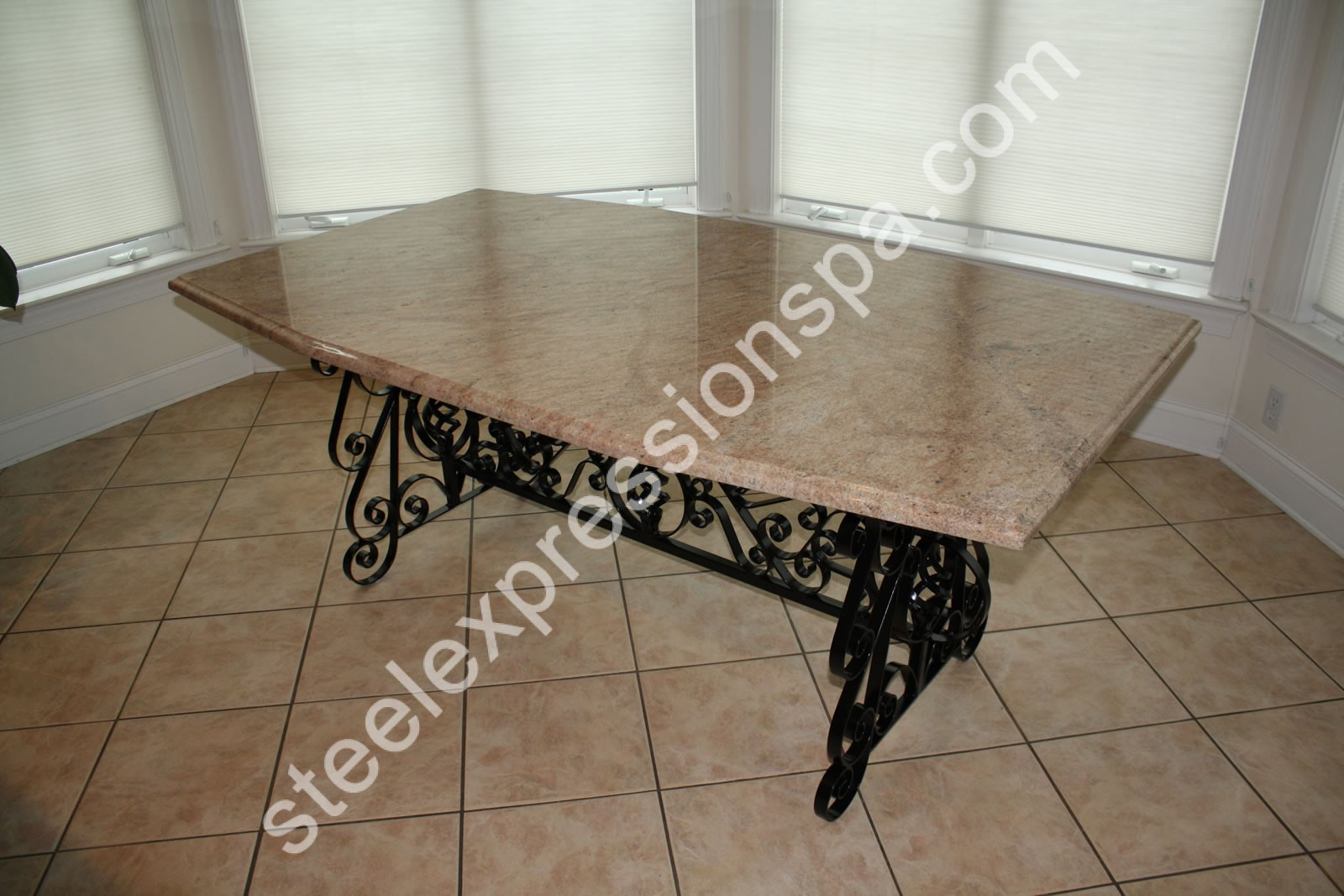 Dining room table bases for granite brass dining table for Custom made marble dining tables