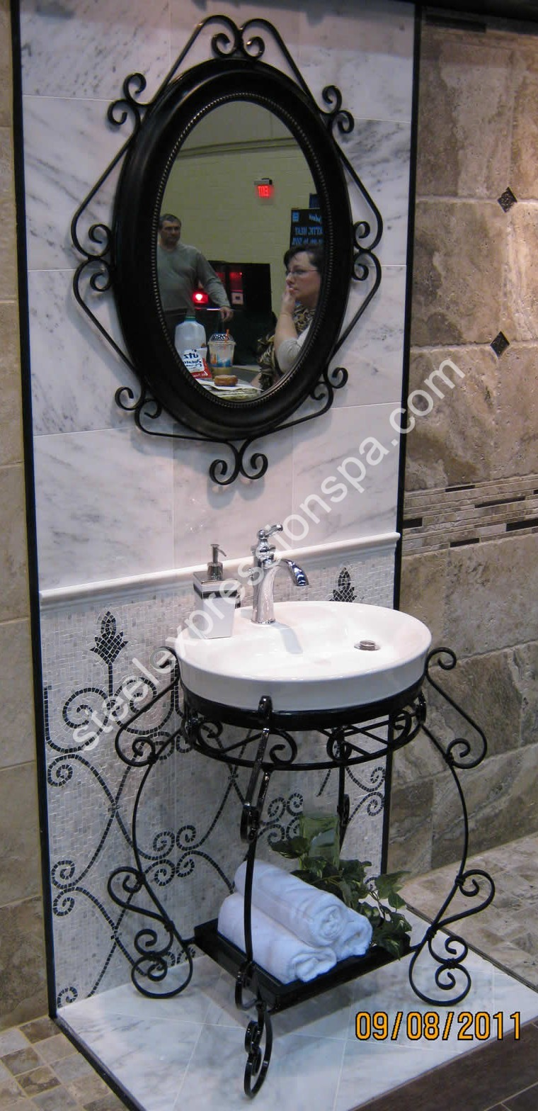 Custom Wrought Iron Bathroom Vanities Steel Expressions Lancaster - Wrought iron bathroom vanity stand